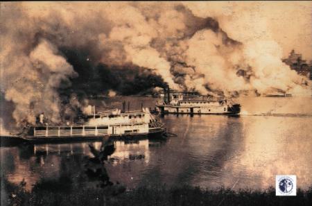 Image: di00281 - steamer on fire in river