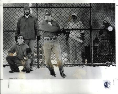 Image: di00653 - Softball tournament: L-R: Thomas Hahn, Mark Linneman, Ray Hildbrand