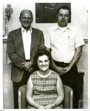 Image: di02109 - Mary Black (seated), Charlie Bricking (in jacket), Carl Lemker.  Chairpersons of the St. James-St. Boniface....