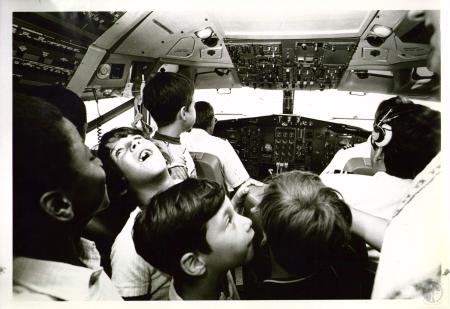 Image: di02250 - group of orphans aboard TWA airplane