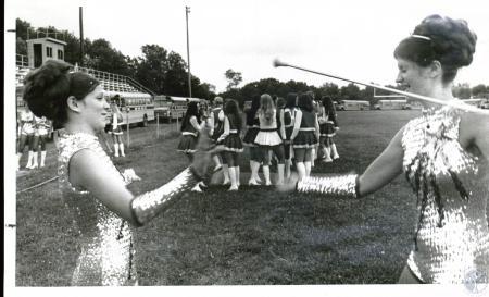 Image: di03819 - Vickie True, 15, and Cindy Carson, 14, baton twirlers for Simon Kenton High Band