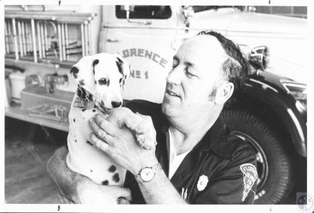 Image: di06581 - Fire Chief Don Roberts & Dalmatian