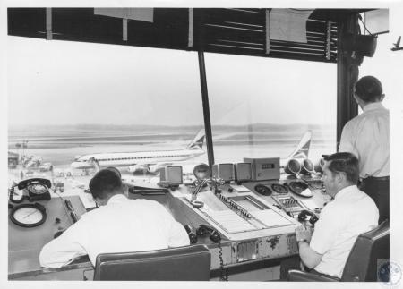 Image: di08195 - Air traffic controllers - Howard Smock, Paul Gibbons, Robert Hess