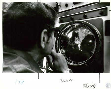 Image: di10069 - John Robinson, meteorologist for U.S. Weather Service, watching weather pattern on radar screen