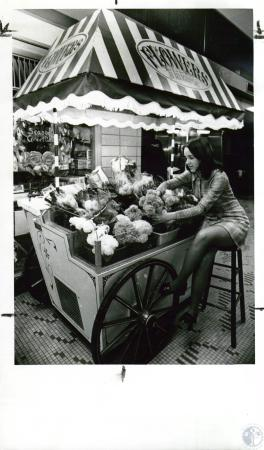 Image: di10120 - Mrs. Larry Lowe selling flowers from cart in airport lobby