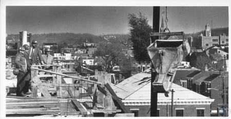 Image: di10249 - Bob May, Bill Hub, Bob Brewster, & Gene Weber viewing construction of senior citizen high rise