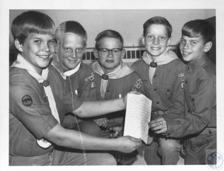 Image: di10416 - Bob Burgoyne, 14, Don Goetz, 12, George Abbott, 11, Duke Keller, 11, Ronnie Zappa, 12 - helped put out....