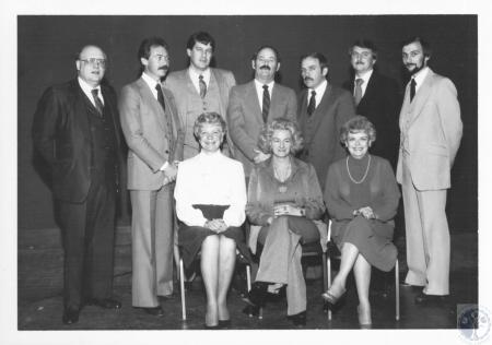 Image: di10701 - (seated) Harriet Burns, Lois Beckon, Mary Ann Scalf, (standing) Jim Huff, Fred Burch, Rob Martin, Al....