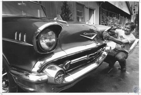 Image: di10862 - Greg Schneider with 1957 Chevy he is restoring