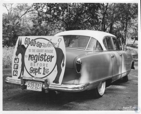 Image: di10866 - Auto advertising voter registration.  1960 Election.  John Fitzgerald Kennedy is candidate.