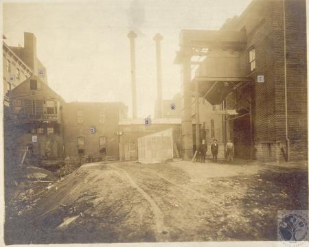 Image: di100028 - a - Brewhouse (1886), b - first boiler house (1886, abandoned June 1907), c - first engine room (1889),....