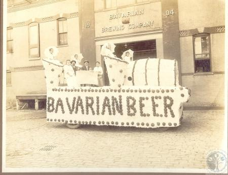 Image: di100033 - Bavarian Brewing float for Covington Centennial Expo - Henry Gastinger and wife, Ed Kroess and wife,....