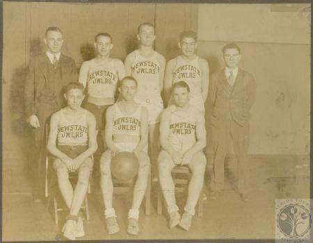Image: di100163 - Newstate Jewelers team - (standing) Roy Dieterlein, H. Dixon, C. Newstate, Joe Goldberg, (sitting) Al....