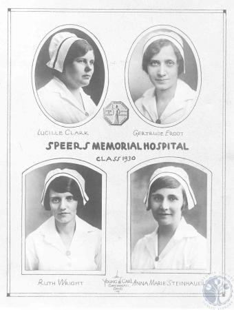 Image: di100596 - class photo - Speers Nursing School: (top) Lucille Clark, Gertrude Ergot, (bottom) Ruth Wright, Anna....