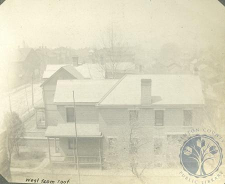 Image: di106488 - Exterior view looking west from roof of Ritchie homestead. First house is Arnold W. Ritchies at 30 Elm....