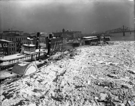 Image: di107251 - Louisville and Cincinnati Steamboat moored in frozen Ohio River. Facing Cincinnati. View 2.