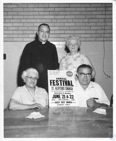 Image: di12256 - festival committee: (seated) Mrs. Elsie Joyce, Carlos Perez, (Standing) Rev. Raymond McClanahan, Mrs.....