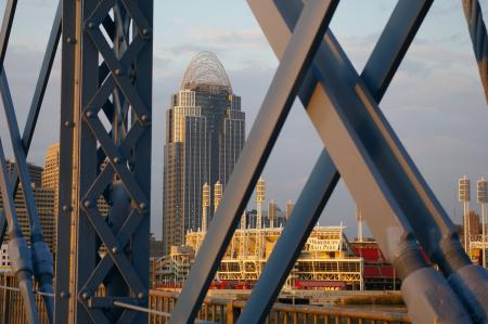 Image: di121075 - View of the Roebling Suspension Bridge. Photograph by Paul Collett. Images are courtesy of the  Covington-Cincinnati....