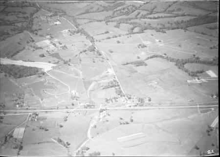 Image: di128011 - Aerial view of Ft Wright or Ft Mitchell, I-71/I-75 construction