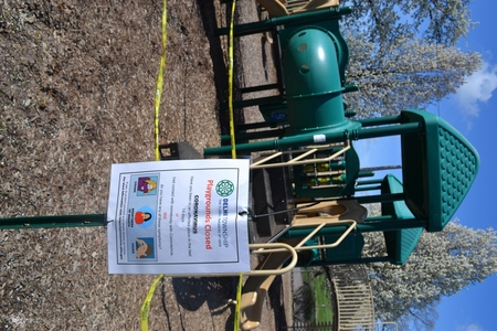 Image: di128370 - Caution tape surrounds play equipment at playgrounds closed due to the corona virus