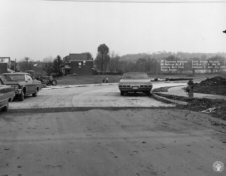 Image: di128503 - Concrete pavement on service road #3. Looking East from Third Street