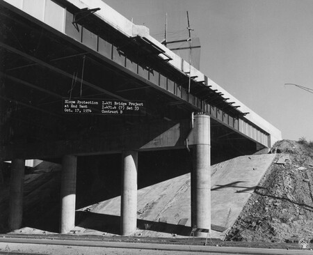Image: di128687 - Slope protection at end bent, I-471 bridge project