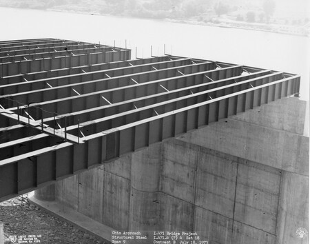 Image: di128783 - Ohio approach structural steel, span 9, I-471 bridge project. Photo from Stevie Photo Lab - 400 Fairfield....