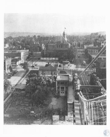 Image: di13586 - View of Covington from the top of the Roebling Suspension bridge. City Hall is visible.