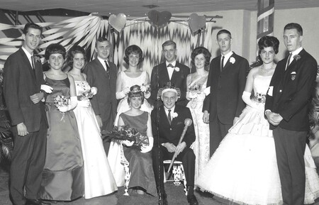 Image: di130211 - 1960 Sweetheart Ball for Dixie Heights High School.  Faces in unknown order: Bill Rowkamp (King) and....