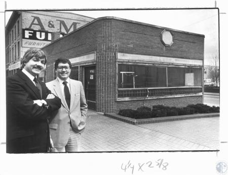Image: di14290 - Joe Baker & Jim Willmann in front of Old Clock Grill, to be reopened as the Point by the Mental Health....