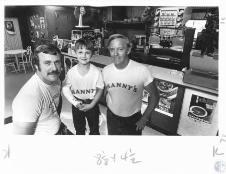 Image: di14292 - Gene Daniels, Matthew Daniels and Jim Huser at Granny's Ice Cream Parlor, 4185 Richardson Pike