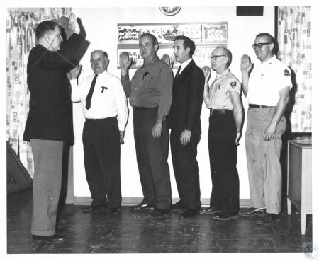 Image: di14534 - Incoming officers 1969 - Kenton-Boone Firefighters Educational Assn. Joseph Hallmeyer 3rd from left,....