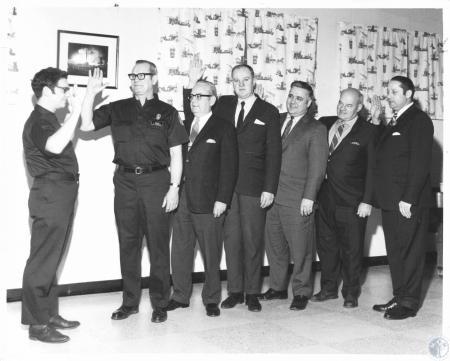 Image: di14536 - N. Ky Firemen's Association officers: L-R: Robert Hebbeler, Pres, Louis Bartlett, Vice Pres., Paul Radenheimer,....
