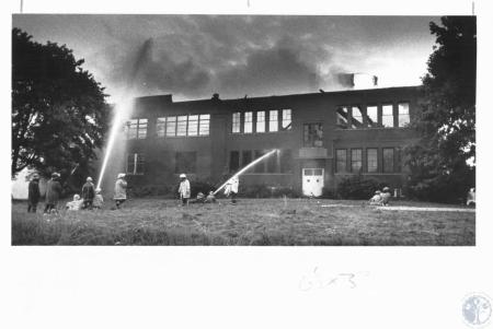 Image: di14637 - Old Hebron School gutted by fire. Fire Companies from: Hebron, Burlington, Florence, Pt. Pleasant, responded....