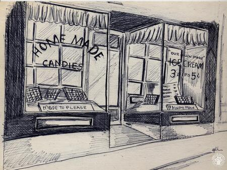 Image: di140123 - Sketch of the Lily's Candies store front. These images appeared in the Northern Kentucky Heritage Magazine....