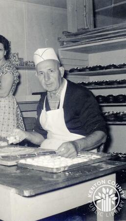 Image: di140128 - Chris Papas working in the chocolate shop.    These images appeared in the Northern Kentucky Heritage....