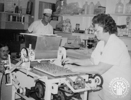 Image: di140129 - The dipping machine in use.    These images appeared in the Northern Kentucky Heritage Magazine Vol.....