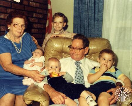 Image: di140131 - Katherine and Norbert Hartmann with grandchildren.    These images appeared in the Northern Kentucky....