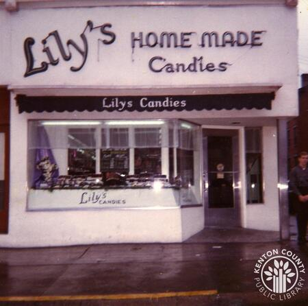 Image: di140142 - Outside view of Lily's candies storefront.     These images appeared in the Northern Kentucky Heritage....