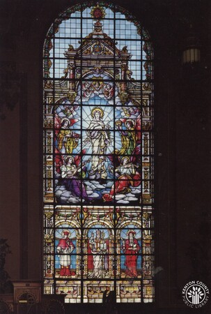 Image: di140389 - Transept window at Mother of God church, depicting the doctrine of the Immaculate Conception. The window....