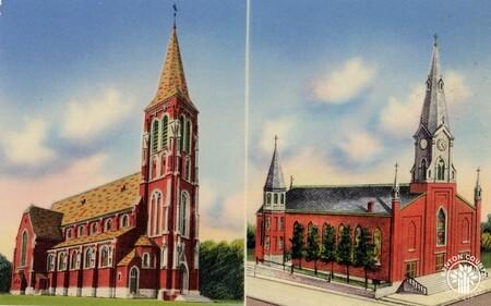 Image: di140406 - The original St. John Church (1854) and the new St. John Church (1924).
