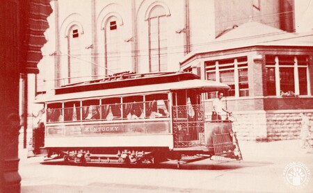 Image: di140409 - The last surviving electric streetcar in NKY. It is shown here by the old St. Joseph Church and now resides....