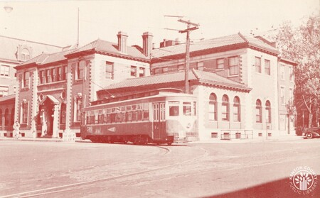 Image: di140410 - A Ft. Mitchell bound electric streetcar at Court & Park in Covington in the 1940s