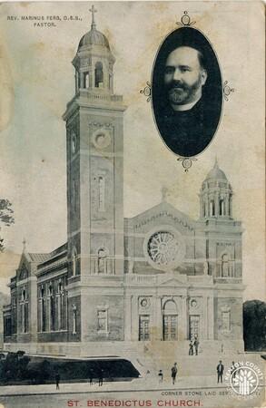 Image: di140418 - Exterior of St. Benedict Church with picture of Rev. Marinus Ferg, Pastor.