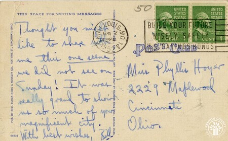 Image: di140445a - Back of Roebling Suspension Bridge postcard - note from