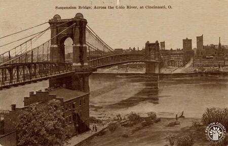 Image: di140446 - Postcard of Roebling Suspension bridge