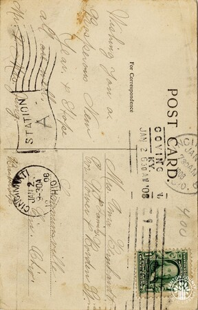Image: di140462a - Back of postcard from St. Paul's Church - New Year's note from Mr. & Mrs. Jung, addressed to Mrs. Anna....