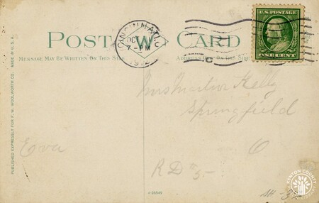 Image: di140463a - Back of Fort Mitchell Country Club postcard, addressed to Mrs. Martin Kelly of Springfield.