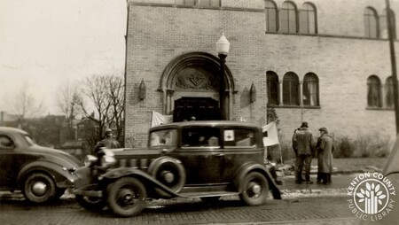 Image: di141033 - Knights of Columbus hall on Madison Ave - during the flood of 1937.