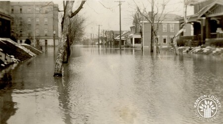 Image: di141037 - Flooding at 21st and Eastern Ave. - St. Elizabeth Hospital is pictured on the left.